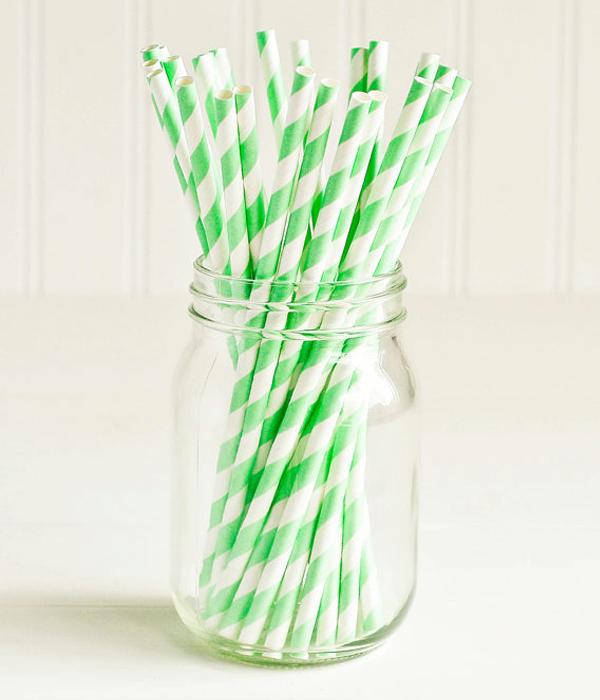 """Паперові трубочки """"Apple green white srtipes"""" (10 шт.)"""