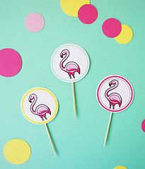 """Топперы для капкейков """"Фламинго"""""""