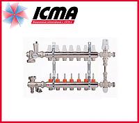 """Коллекторная группа с расходомерами 1""""на 7 контуров Icma № К0111"""