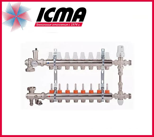 """Коллекторная группа с расходомерами 1""""на 8 контуров Icma № К0111"""