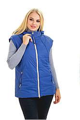 Стильний.,жіночий,демісезонний жилет,знімний капюшон, розміри 44,46 блакитний (1) жіночий жилет