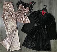 Халат и пижама с штанами-комплект для сна и дома из велюра.
