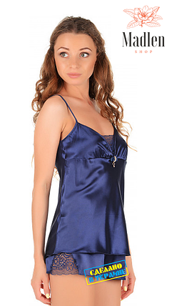 Темно-синяя атласная пижама Martelle Lingerie, фото 2