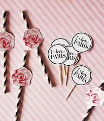 """Топперы для капкейков """"I love Paris"""""""