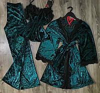Теплый комплект домашней одежды из велюра, халат+штаны+майка.