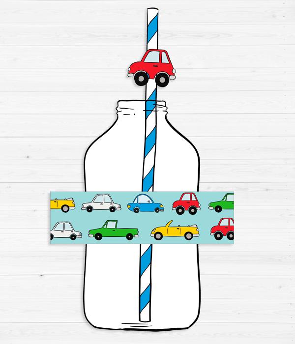 """Набор наклеек на бутылочки и трубочек """"Машинки"""" (10 шт.)"""