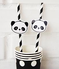 Бумажные трубочки с пандами (10 шт.)