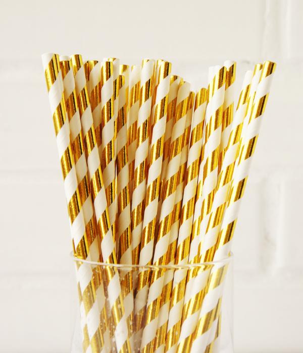 """Бумажные трубочки """"Gold white stripes"""" (10 шт.)"""
