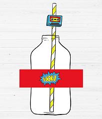 Набор наклеек на бутылки и трубочек (10 шт.)
