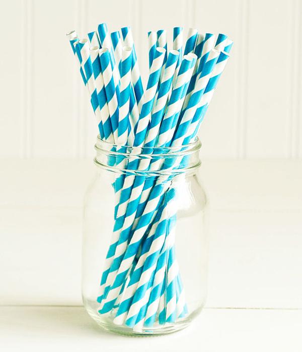 """Бумажные трубочки """"Blue white stripes"""" (10 шт.)"""