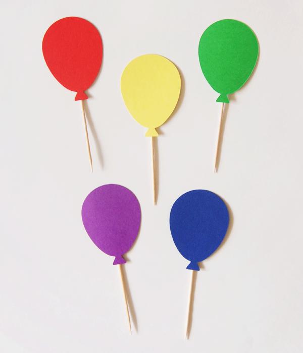 """Топперы для капкейков """"Воздушные шарики"""" (яркие)"""