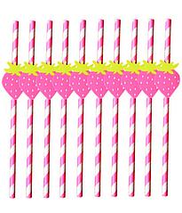 Бумажные трубочки с клубничками (10 шт.)
