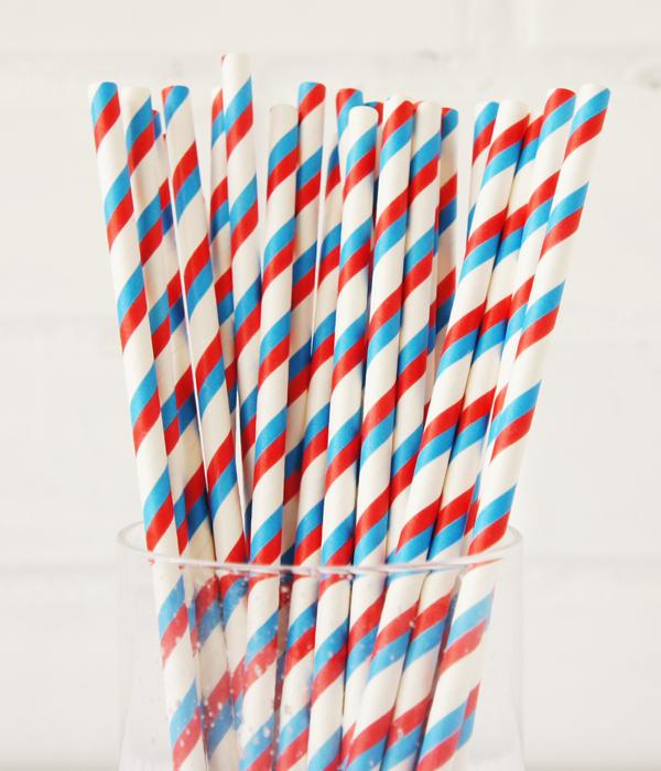 """Бумажные трубочки """"Blue and red stripes"""" (10 шт.)"""