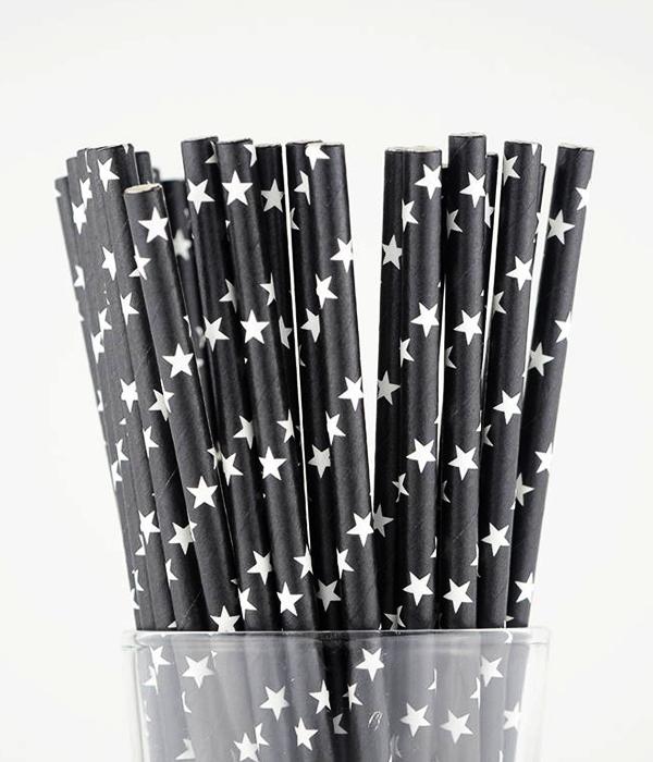 """Бумажные трубочки """"Black white stars"""" (10 шт.)"""