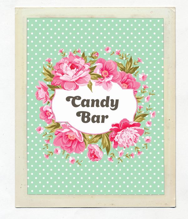 Карточка Candy Bar для украшения сладкого стола