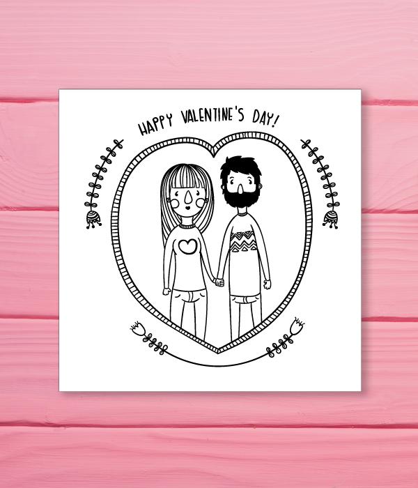 Хипстерская открытка на день Святого Валентина