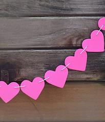 "Гирлянда из сердечек ""Hot Pink"" (1,5 метра)"