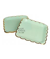 "Паперові тарілки квадратні ""Mint & Gold"" (10 шт.)"