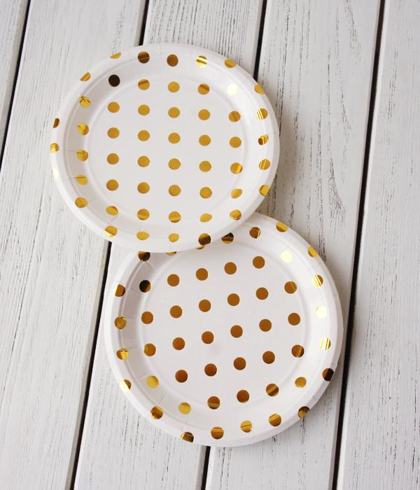 """Бумажные тарелки """"Gold Polka dots"""" (10 шт.)"""
