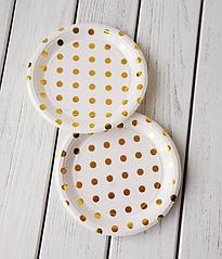 "Паперові тарілки ""Gold Polka dots"" (10 шт.)"