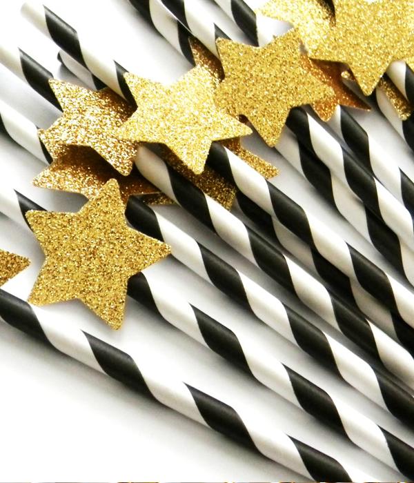 Бумажные трубочки черные с золотыми звездами (10 шт.)