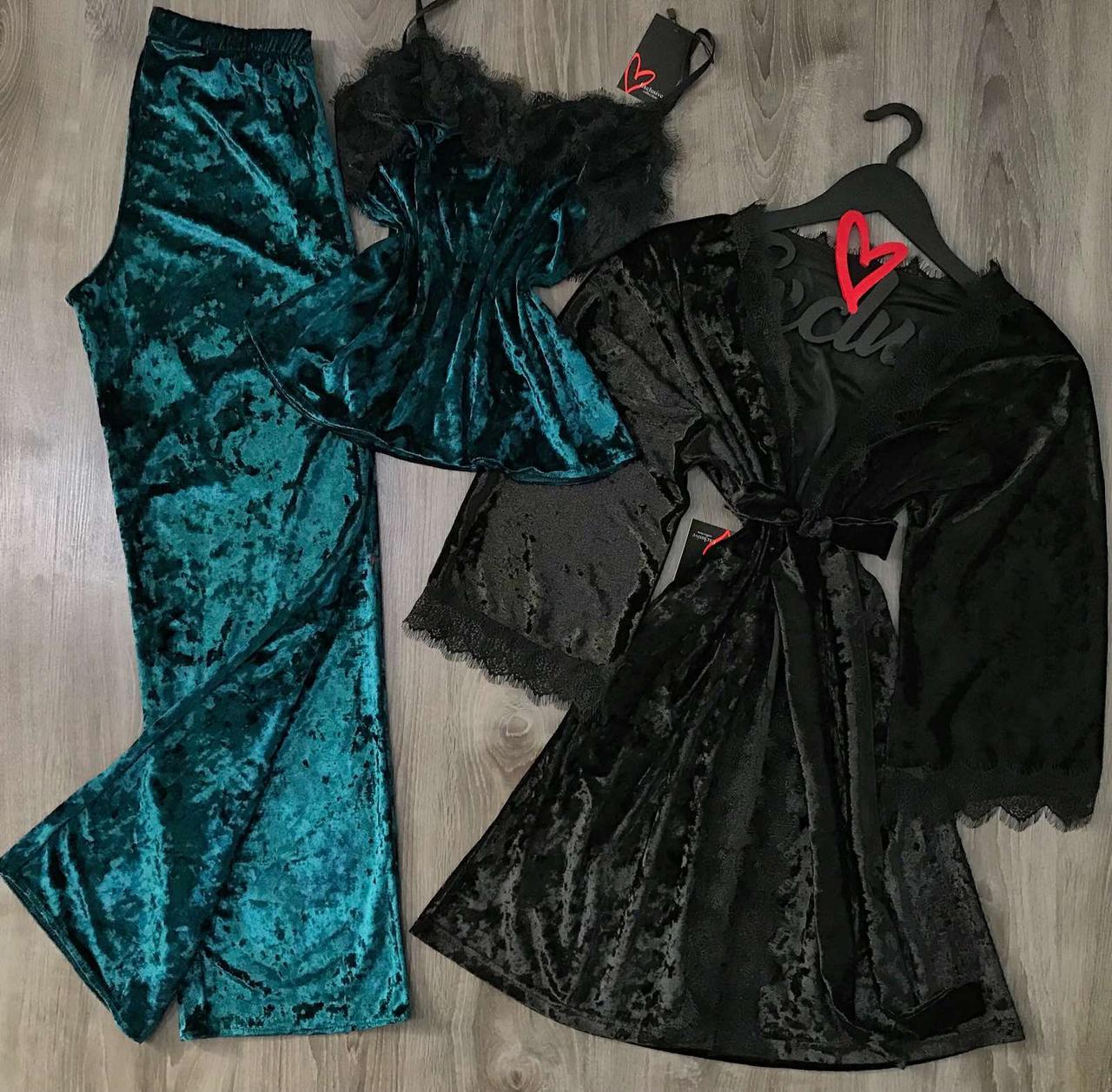 Велюровий комплект трійка, халат, піжама з красивим мереживом