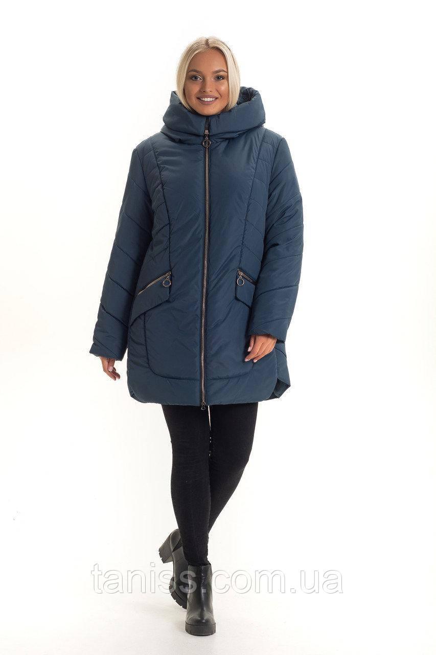 Зимова жіноча куртка великого розміру, без хутра, розміри 48,50,52 малахіт (132-1)куртка зимова жіноча