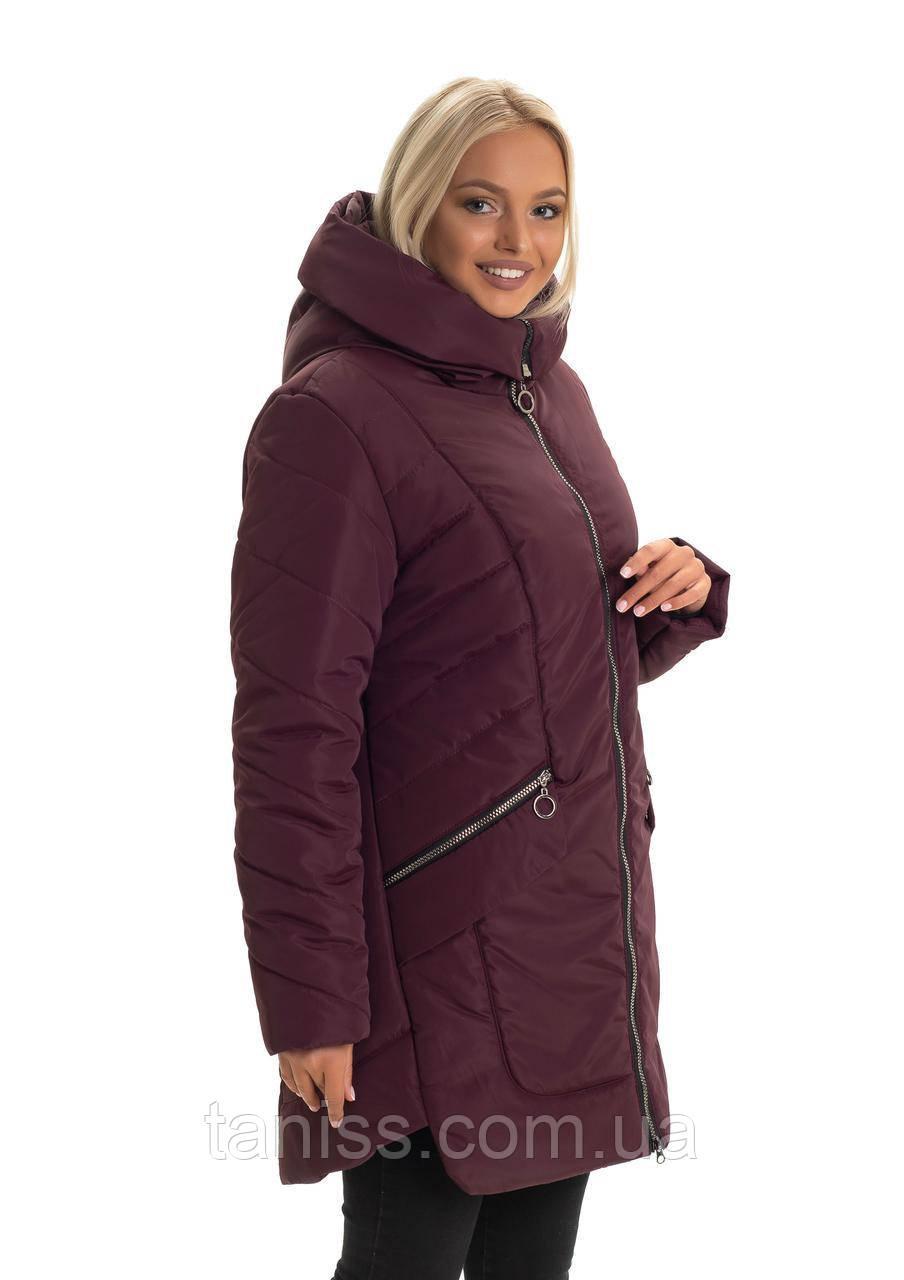 Зимняя женская куртка большого размера, без меха, размеры 48,50 ,марсал (132-1)куртка зимова жіноча