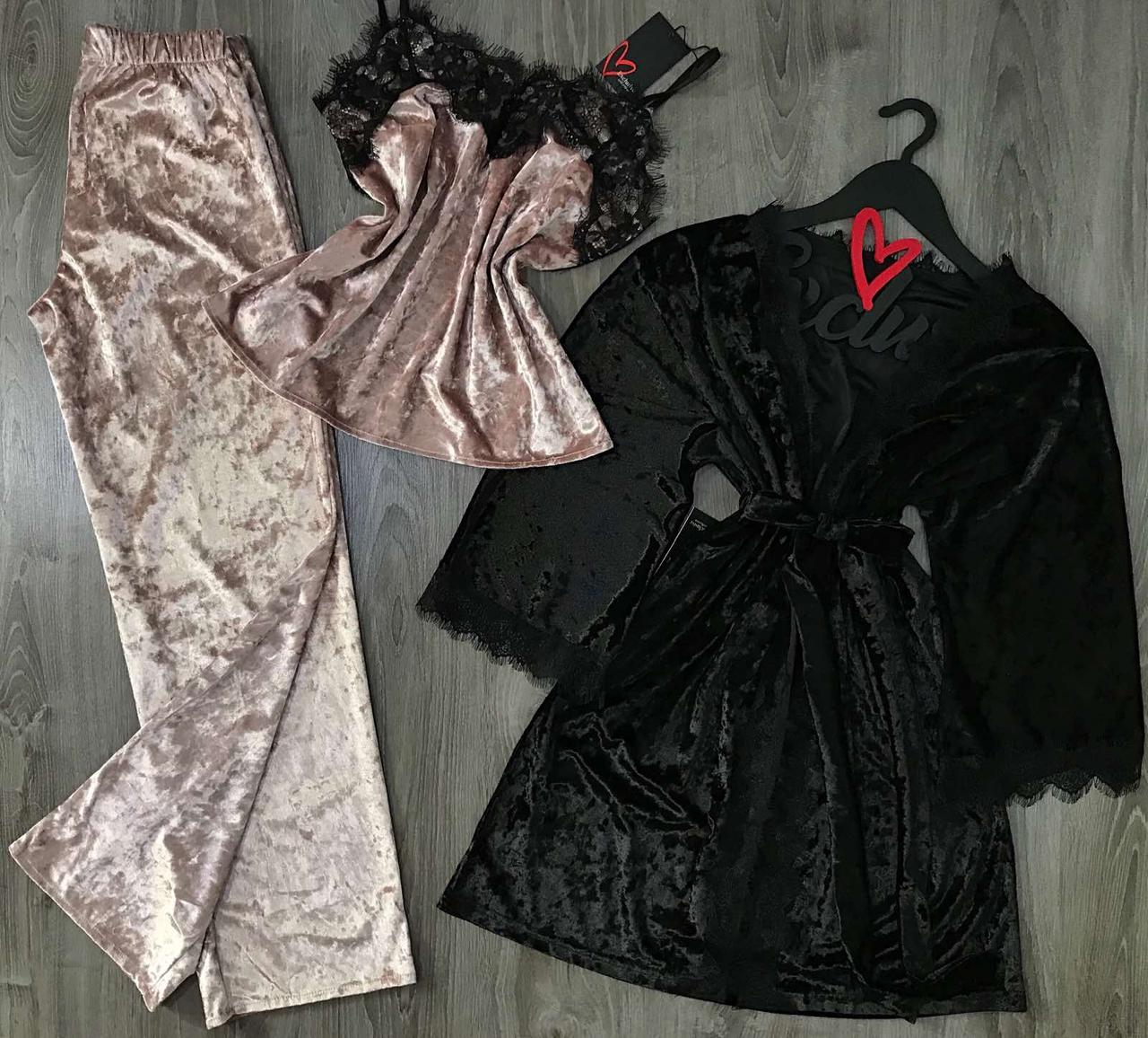 Модный комплект домашней одежды, велюровый халат и пудровая пижама с кружевоммо