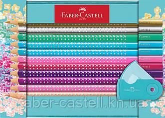 Цветные карандаши Faber-Castell Grip Sparkle 20 цветов в металлической коробке + точилка, 201641