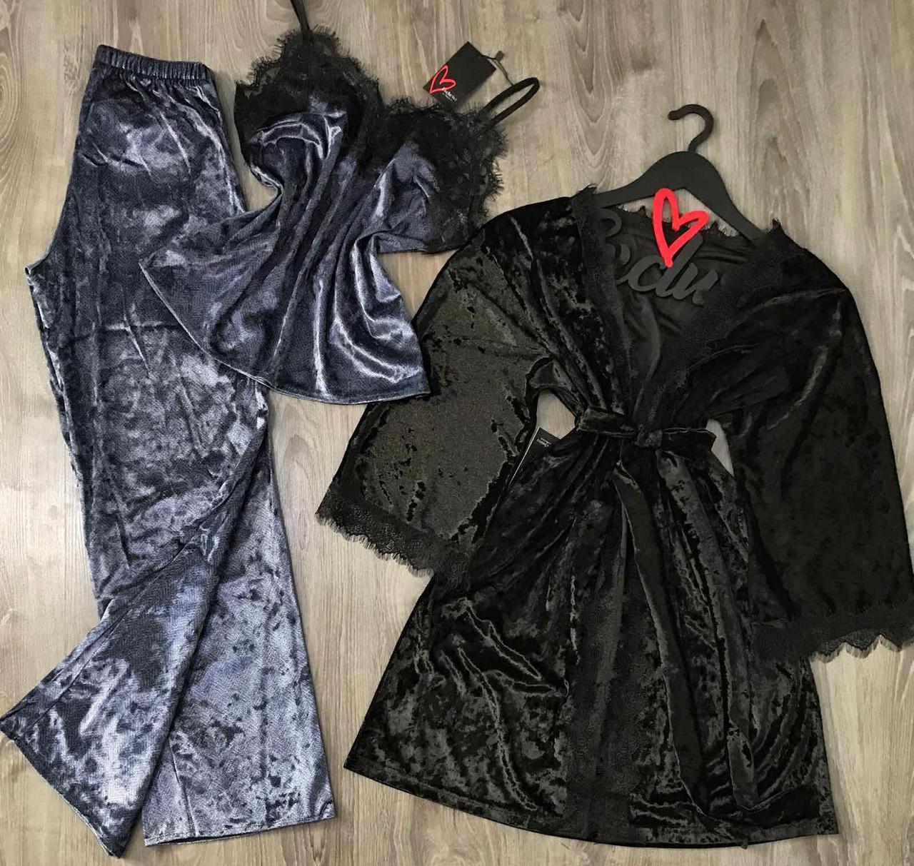 Женский велюровый халат и пижама, одежда для сна и отдыха
