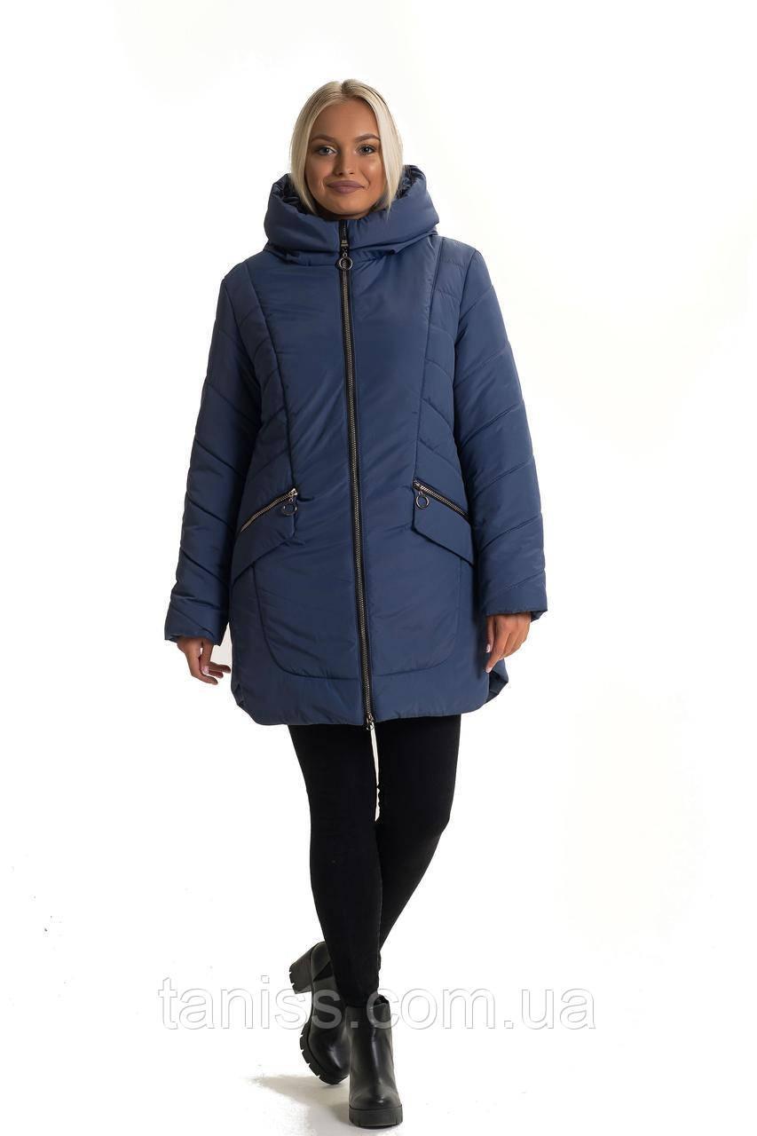 Зимова жіноча куртка великого розміру, без хутра, розміри 48,50 джинс(132-1)куртка зимова жіноча