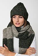 Вязаный длинный шарф  (One Size, темно-зеленый, зеленый меланж)