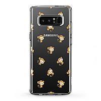 Чехол силиконовый для Samsung Galaxy (Маленькая обезьянка паттерн) Note 10 Plus 5G/s6 Edge+/s7/s8 Activ/s9/s10e Plus самсунг галакси ноте эйдж плюс