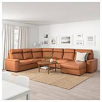 IKEA ЛИДГУЛЬТ Угловой диван, 6-местный, с шезлонгом, Grann/Bomstad золотой/коричневый | 092.572.65