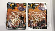 Паутинка пластмассовая с двумя паучками для декора на Хэллоуин