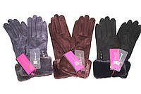Перчатка женская L1  (уп.12 штук) Замш, фото 1