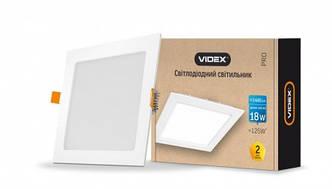 VIDEX LED светильник светодиодный квадратный ВСТРАИВАЕМЫЙ Downlight 18W 5000K 1440Lm