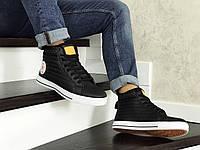Кеды зимние Converse All Star мужские, черно-белые, в стиле Конверс, кожа, внутри -термо, код SD-8564