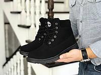 Мужские зимние ботинки на меху в стиле Timberland, экокожа, велюр, черные 42 (27 см)