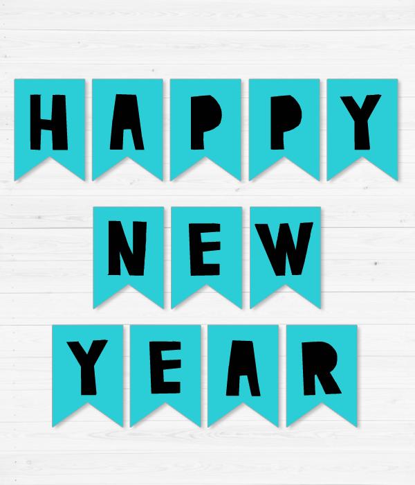 "Новогодняя гирлянда из флажков ""Happy New Year"""