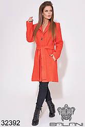 Пальто шерстяное букле женское стильное коралловое (размеры 42-46)
