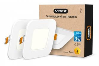 VIDEX LED светильник светодиодный квадратный ВСТРАИВАЕМЫЙ Downlight 3W 5000K 240Lm