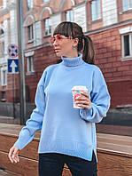 Свитер женский модный теплый под горло с молнией на спине разные цветаSsvv476, фото 1