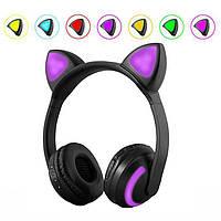 Наушники с кошачьими ушками с подсветкой 7 цветов Черные