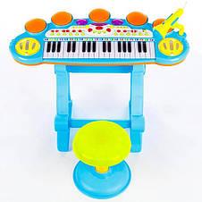 Детский синтезатор, пианино со стульчиком + микрофон + USB + MP3 + караоке Kinderplay, фото 2