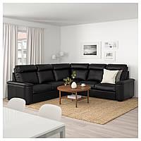 IKEA ЛИДГУЛЬТ Угловой диван 5-местный, Grann/Bomstad черный | 192.573.97