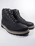 Ecco ботинки мужские высокие зимние из натуральной кожи на меху чёрный (ecco-b2-black)