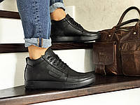 Мужские зимние ботинки на меху в стиле Vankristi, натуральная кожа, черные*** 40 (26,7 см)