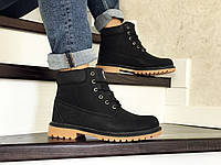 Мужские зимние ботинки на меху в стиле Timberland, кожзам, черные с коричневым 42 (27 см)